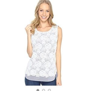 NYDJ Lace Overlay Top
